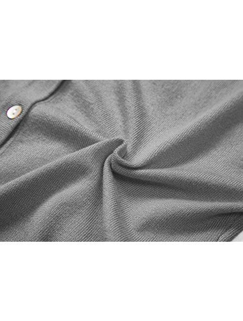 Urban CoCo Women's Button Down Crew Neck Cropped Cardigan Knitted Sweater