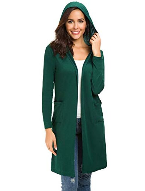 Urban CoCo Women's Classic Open Front Lightweight Long Hooded Cardigan