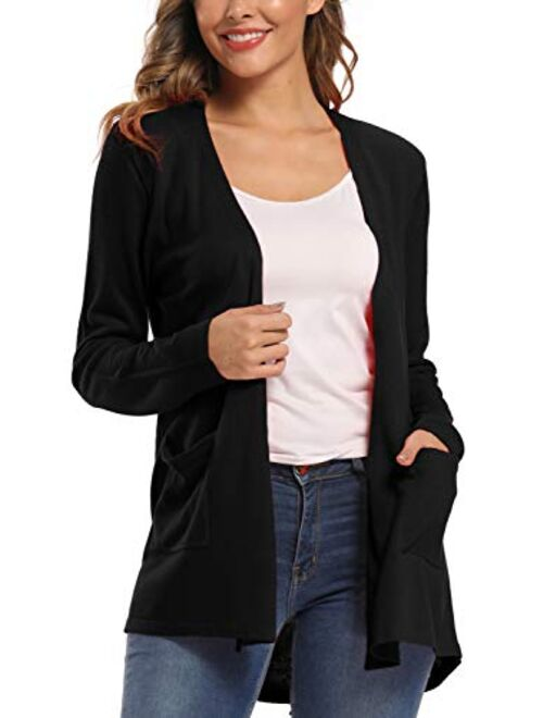 Urban CoCo Women's Long Sleeve Open Front Cardigan with Pockets