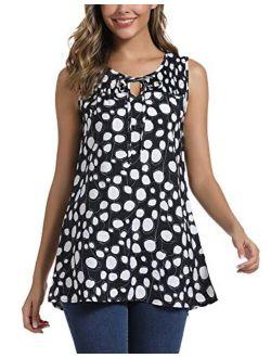 Women's Summer Sleeveless Tie Neck Casual Tank Tops Blouse Shirts