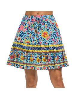 Women's Flared Short Skirt Floral Ruffle Mini Skater Skirt
