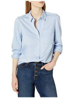 - Daily Ritual Women's Knit Long-sleeve Relaxed Button-down Shirt