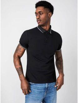 Basics Men Striped Trim Polo Shirt