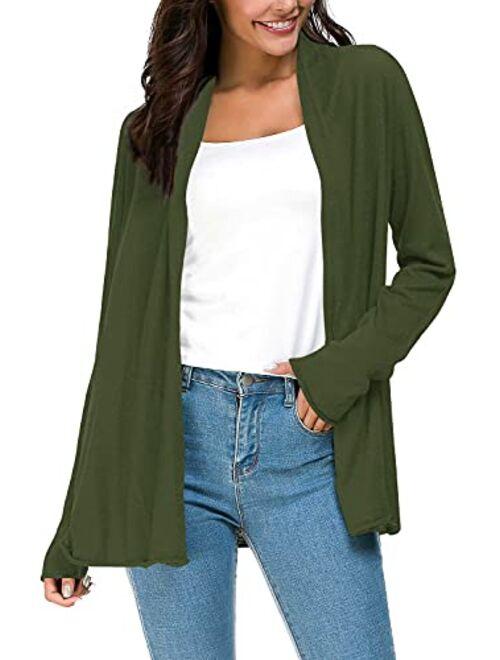 Urban CoCo Women's Long Sleeve Open Front Casual Thin Cardigan