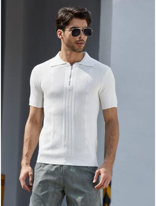 Shein Men Half Zip Solid Knit Polo Shirt