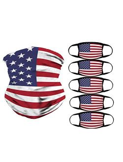 American Flag Bandana, 5 pcs Reusable Cotton Covering and 1 Seamless Face Scarf, Breathable Balaclava for Outdoor, Sports