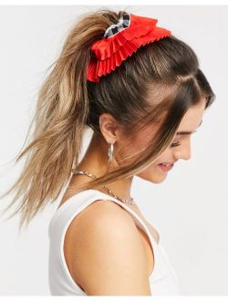 ASOS DESIGN scrunchie in gingham with pleated edge