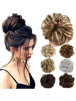 Hair Bun Extensions Wavy Curly Messy Hair Extensions Donut Hair Chignons Hair Piece Wig Hairpiece Medium Brown Onesize