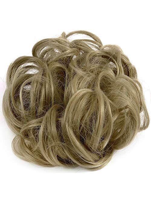 Lelinta Hair Bun Extensions Wavy Curly Messy Hair Extensions Donut Hair Chignons Hair Piece Wig Hairpiece Medium Brown onesize