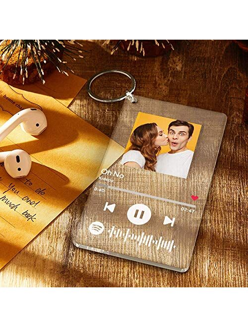 Custom Scannable Spotify Code Plaque Frame Keychain Acrylic Keyring for Photo