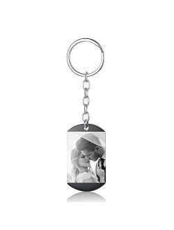 Bosajewel Personalized Calendar Photo Keychain Custom Engraved Keyring for Men Women