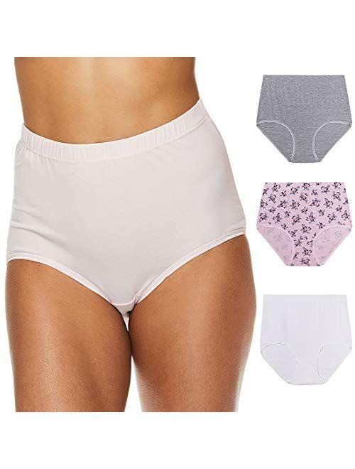 Gloria Vanderbilt Womens High Waisted Underwear Tagless Full Coverage Cotton Brief Panties for Women
