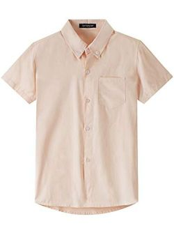 Spring&Gege Boys' Short Sleeve Uniform Oxford Dress Shirt Solid