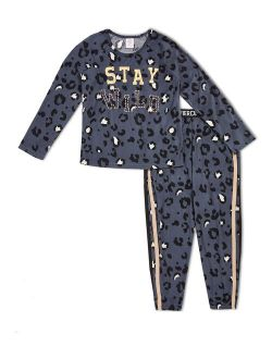"""Girls Exclusive """"stay Wild"""" 2-piece Pajama Set, Long Sleeve Top And Jogger Sizes 4-18 & Plus"""