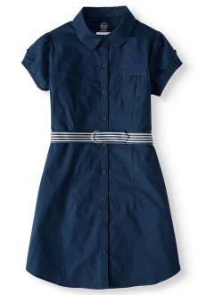 Girls School Uniform Button-up Shirt Dress, Sizes 4-16