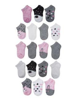 Toddler Girls No Show Socks, 18-pack