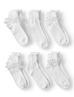 Girls Lace Dress Socks 6-pack, Sizes S-l