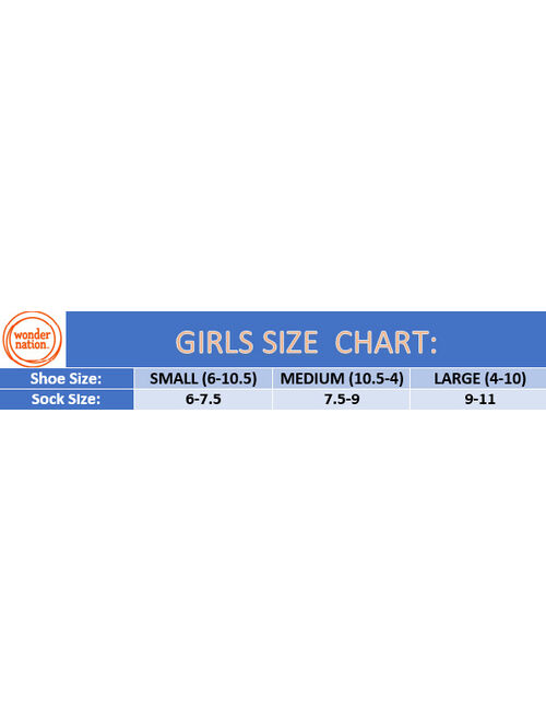Wonder Nation Girls Lace Dress Socks 6-Pack, Sizes S-L