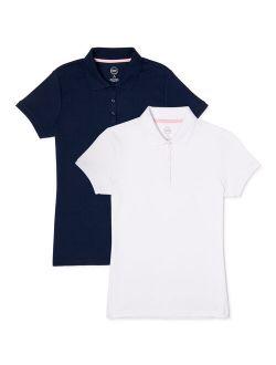 Toddler Girls School Uniform Short Sleeve Interlock Polo Shirt, 2-pack Value Bundle