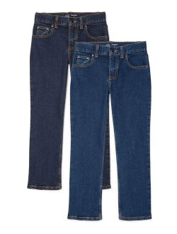 Boys Relaxed Jeans, 2-pack, Sizes 4-18 & Husky