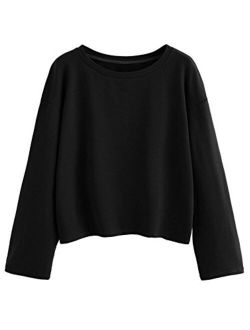 Women's Casual Long Sleeve Tops Raw Cut Pullover Sweatshirt