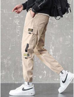 Men Letter Graphic Flap Pocket Cargo Pants