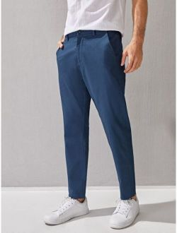 Men Solid Button Fly Tailored Pants