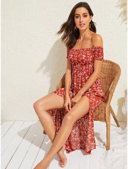 Katy Perry's Picks Ditsy Floral Smocked M-slit Midi Dress