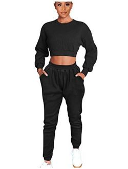 Mizoci Women's 2 Piece Outfits Workout Tracksuit Long Sleeve Crop knitted lounge set