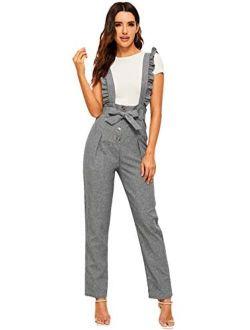 MakeMeChic Women's Casual High Waist Pants Suspender Jumpsuits Overalls