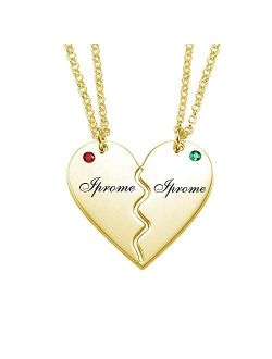 Iprome Customized Mens Womens Couple Necklace, 2 Half Heart Necklace Pendant With Birthstone