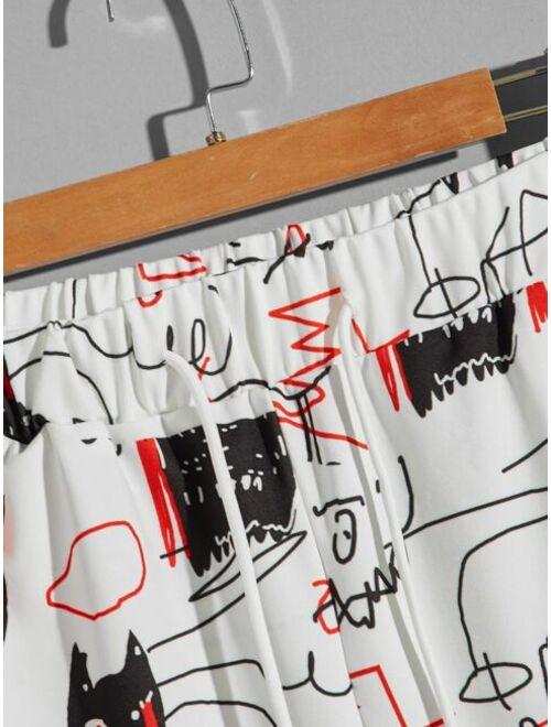 Shein Men Cartoon Graphic Drawstring Waist Shorts