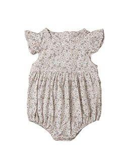 Toddler Baby Girls Floral Print Ruffled Sleeve Onesies Romper Bodysuit Baby Summer Jumpsuit Onesie Outfits