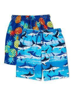 Boys Everyday Swim Trunks, 2-pack, Sizes 4-18 & Husky