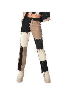 Women High Waisted Patchwork Straight Jeans Denim Color Block Distressed Capris Denim Pants Trousers