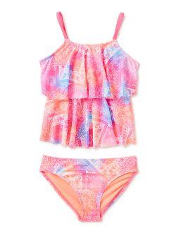Girls Printed Tankini, 2-piece Swimsuit Set, Sizes 4-16 & Girls Plus