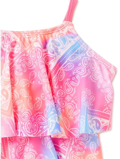 Wonder Nation Girls Printed Tankini, 2-Piece Swimsuit Set, Sizes 4-16 & Girls Plus