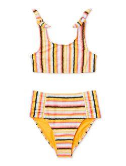 Girls Striped High Waisted Bikini Swimsuit, 4-16 & Girls Plus