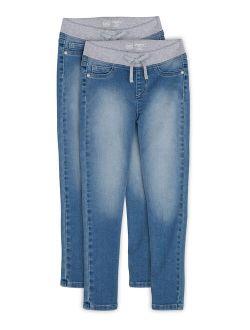 Girls Kid Tough Rib Waist Pull-on Jegging Jeans, 2-pack, Sizes 4-18 & Plus