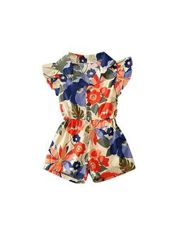Kids Baby Girls Floral Print Button Down Sleeveless Romper Jumpsuit Shorts Ruffle One Piece Playsuit Clothes