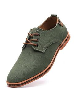 Men's Casual Canvas Oxfords Walking Shoes Sneakers Lace Up Dress Shoes