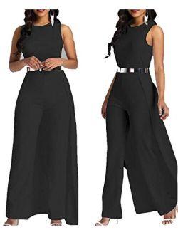 MAGICMK Women Sleeveless High Waist Outfit Overlay Elegant Wide Leg Long Jumpsuit Romper