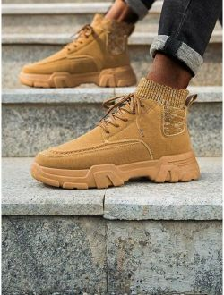 Men Lace Up Decor Ankle Boots