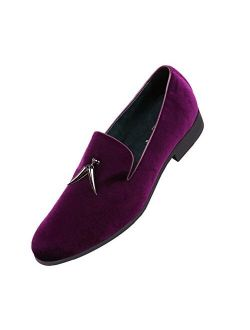 Amali Heath - Mens Dress Shoes with Gunmetal Horn Tassels with Luxurious Velvet - Formal Loafers for Men - The Original Smoking Men Slip-On - Shoes Runs Large, Choose Hal
