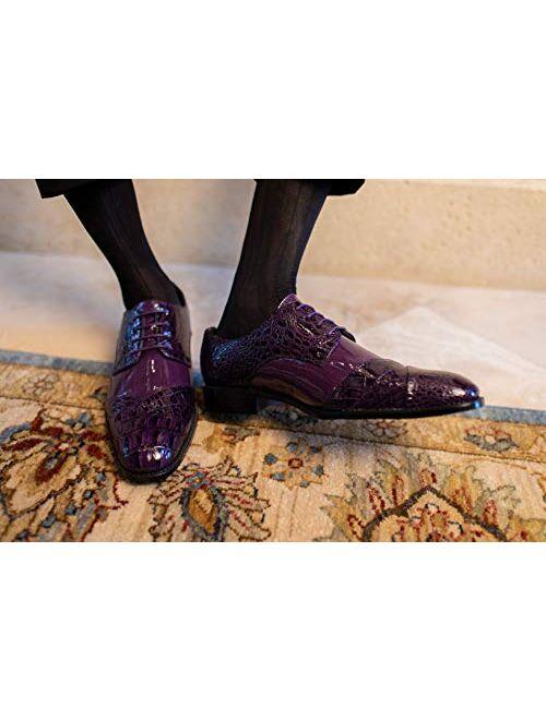 Crocs Bolano Bandit Men's Oxford Dress Shoes - Croc Folded Cap Toe Formal Dress Shoes for Men with Alligator Print and EEL Skin Trim - Designer Formal Shoes with Lace Tie