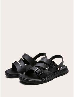 Men Buckle Decor Slingback Sport Sandals