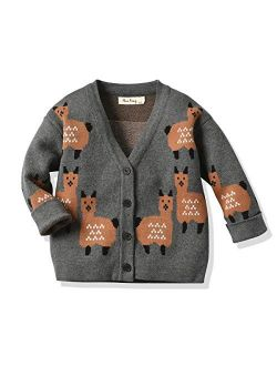 Little Baby Girls Boys Knit V Neck Cardigan Sweater Cartoon Cotton Button Down Knitted Sweater Coat