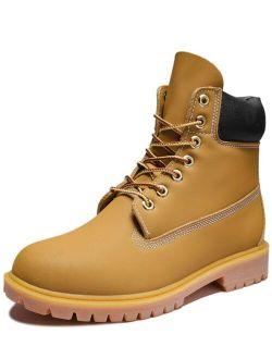 Men Lace-up Front Combat Steel Toe Work Boots