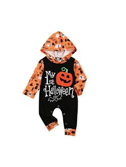 Newborn Baby Girls Boys My First Halloween Christmas One Piece Romper Jumpsuit Holiday Thanksgiving Onesie Outfit