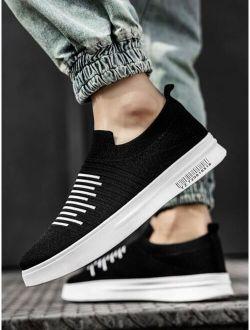 Men Striped Slip On Sneakers